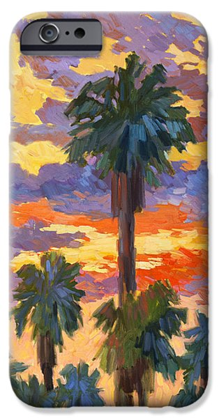 Canary iPhone Cases - Evening Sunset and Palms iPhone Case by Diane McClary