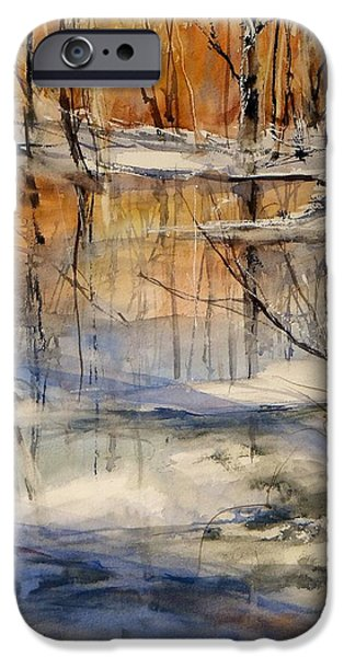 Fall Of River Paintings iPhone Cases - Evening Thaw iPhone Case by Sandra Strohschein