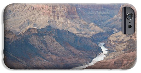 Arizona iPhone Cases - Evening Twilight Reflected from Colorado River Meandering through Grand Canyon National Park Square iPhone Case by Shawn O