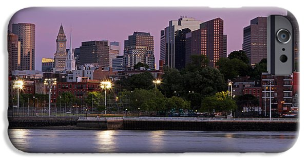 Boston Nightscape iPhone Cases - Evening View of Boston iPhone Case by Juergen Roth