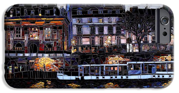 Cities Glass Art iPhone Cases - Evening Walk on the Seine iPhone Case by Sandra Bryant