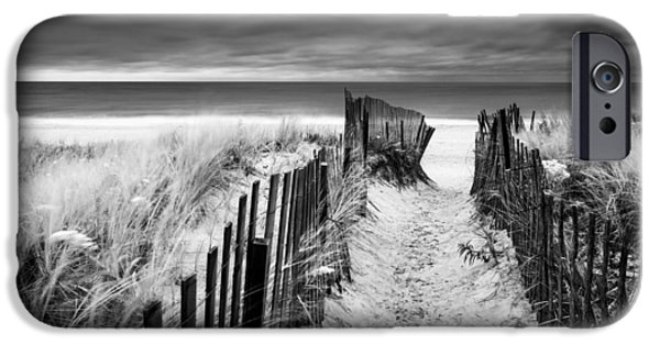 York Beach iPhone Cases - Evening Wave Check BW iPhone Case by Ryan Moore