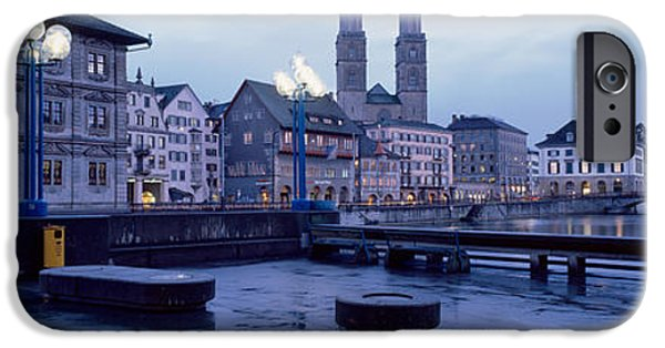 Night Lamp iPhone Cases - Evening, Zurich, Switzerland iPhone Case by Panoramic Images