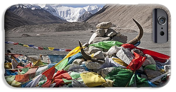 Tibetan Buddhism iPhone Cases - Everest and Prayer Flags iPhone Case by Hitendra SINKAR