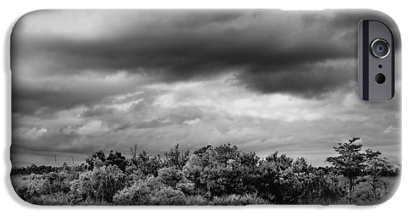 Dark Skies iPhone Cases - Everglades Storm BW iPhone Case by Rudy Umans