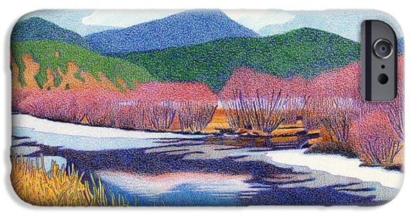 Willow Lake Drawings iPhone Cases - Evergreen Lake Fall iPhone Case by Dan Miller