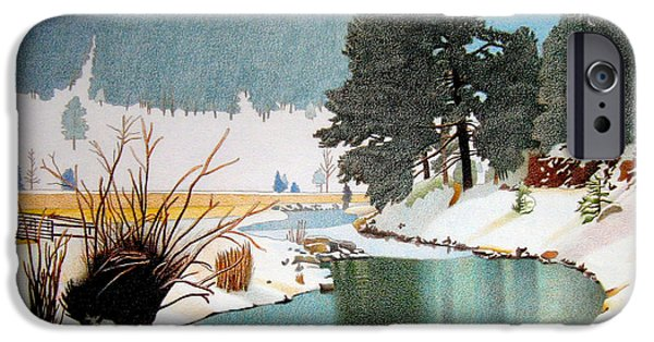 Winter Storm Drawings iPhone Cases - Evergreen Lake Winter iPhone Case by Dan Miller