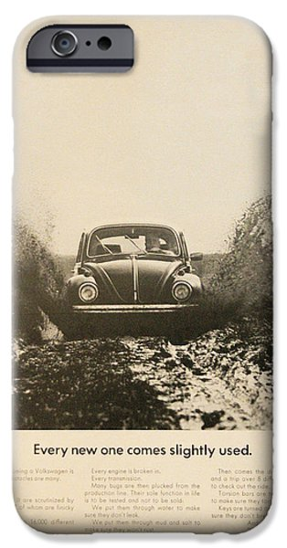Volks iPhone Cases - Every New One Comes Slightly Used - Vintage Volkswagen Advert iPhone Case by Nomad Art And  Design