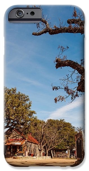 Oak Creek iPhone Cases - Everybody is somebody in Luckenbach - Texas Hill Country iPhone Case by Silvio Ligutti