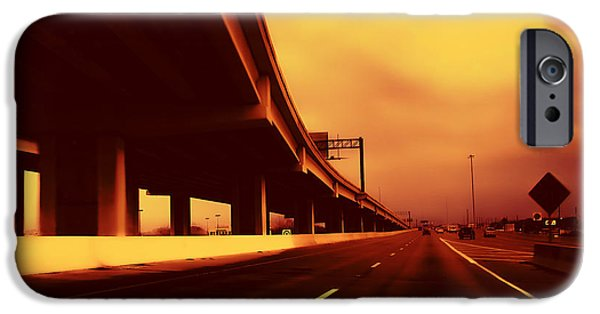 Austin Artist Digital Art iPhone Cases - Everybodys Out Of Town - Sundown iPhone Case by Wendy J St Christopher