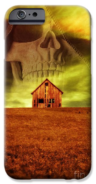 Eerie iPhone Cases - Evil Dwells in the haunted house on the hill iPhone Case by Edward Fielding