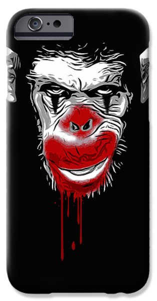 Monkey iPhone Cases - Evil Monkey Clown iPhone Case by Nicklas Gustafsson