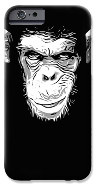 Monkey iPhone Cases - Evil Monkey iPhone Case by Nicklas Gustafsson