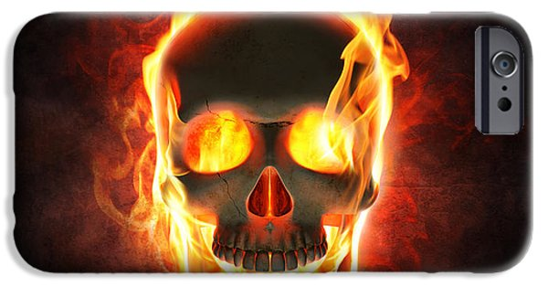 Concept Digital Art iPhone Cases - Evil skull in flames and smoke iPhone Case by Johan Swanepoel