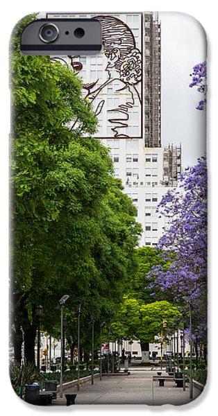 Jacaranda Tree iPhone Cases - Evita 9 de Julio iPhone Case by John Daly