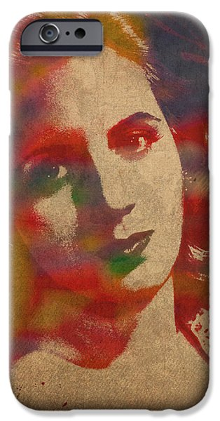Eva iPhone Cases - Evita Eva Peron Watercolor Portrait on Worn Distressed Canvas iPhone Case by Design Turnpike