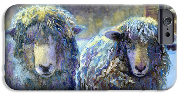 Winter In Maine Paintings iPhone Cases - Ewe and Me 2 iPhone Case by Cindy McIntyre