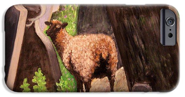 Headstones Paintings iPhone Cases - Ewe Spooked? iPhone Case by Janet Greer Sammons