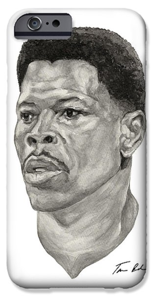 Patrick Ewing Paintings iPhone Cases - Ewing iPhone Case by Tamir Barkan