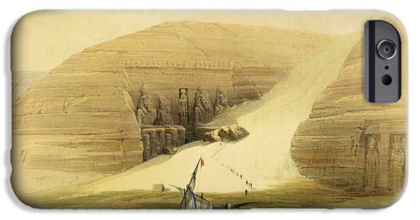 Ancient Paintings iPhone Cases - Excavated Temple of Abu Simbel iPhone Case by David Roberts