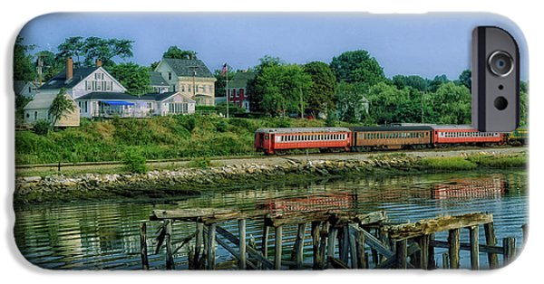 Shore Excursion iPhone Cases - Excursion Train in Wiscasset Maine iPhone Case by Mountain Dreams