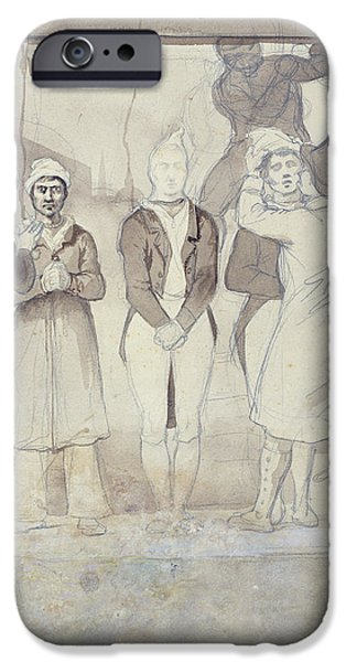 Punishment iPhone Cases - Execution In London The Punishment Wc & Pencil On Paper iPhone Case by Theodore Gericault