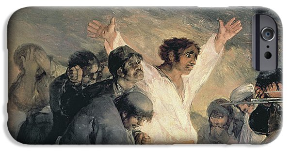 Bravery iPhone Cases - Execution of the Defenders of Madrid iPhone Case by Francisco Jose de Goya y Lucientes