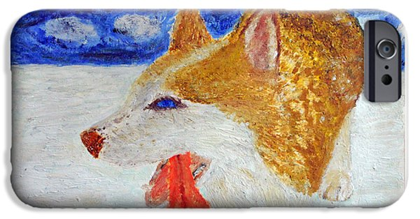 Huskies Pastels iPhone Cases - Exhausted Husky in Snow iPhone Case by Adam Wardle