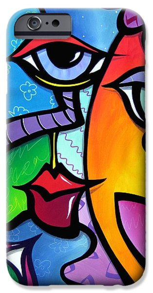 Contemporary Abstract Drawings iPhone Cases - Exhuberant iPhone Case by Tom Fedro - Fidostudio