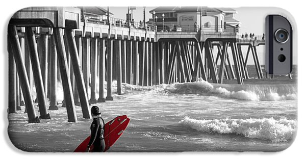Board iPhone Cases - Existential Surfing At Huntington Beach Selective Color iPhone Case by Scott Campbell