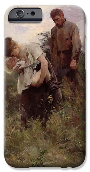 Homeless iPhone Cases - Exodus, 1893 Oil On Canvas iPhone Case by Alfred Roll