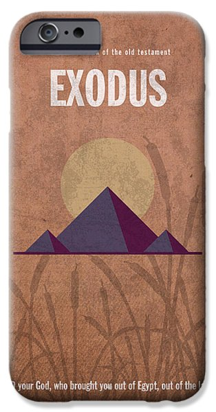 Bible Mixed Media iPhone Cases - Exodus Books of the Bible Series Old Testament Minimal Poster Art Number 2 iPhone Case by Design Turnpike