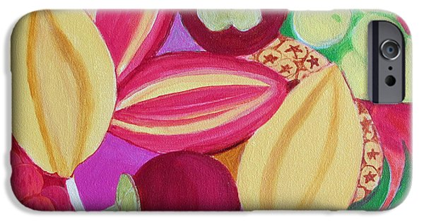 Mango Paintings iPhone Cases - Exotic Fruit Bowl iPhone Case by Toni Silber-Delerive