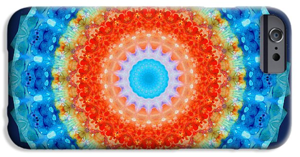 Fractal Paintings iPhone Cases - Expanding Energy 1 - Mandala Art By Sharon Cummings iPhone Case by Sharon Cummings