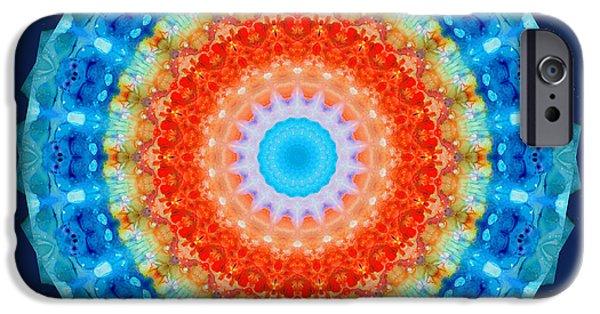 Kaleidoscope iPhone Cases - Expanding Energy 1 - Mandala Art By Sharon Cummings iPhone Case by Sharon Cummings