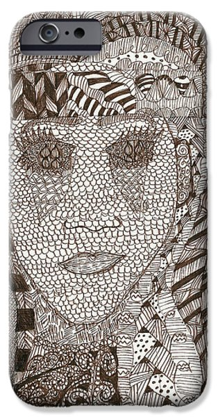 Sepia Ink Drawings iPhone Cases - Experienced iPhone Case by Denise Dupree