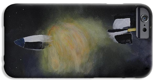 V2 Rocket iPhone Cases - Exploding Rocket Position 3 iPhone Case by Carl S Kralich