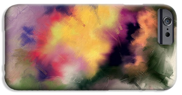 Abstract Digital Paintings iPhone Cases - Exploring Shapes 01 iPhone Case by Jo-Anne Gazo-McKim