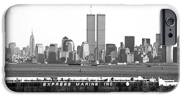 Twin Towers Nyc iPhone Cases - Express Marine Inc. 1990s iPhone Case by John Rizzuto