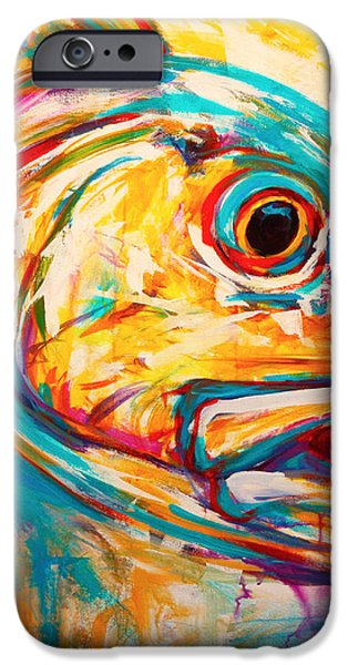 Expressionist Redfish iPhone Case by Mike Savlen
