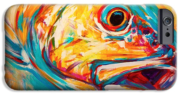 Yellow iPhone Cases - Expressionist Redfish iPhone Case by Mike Savlen