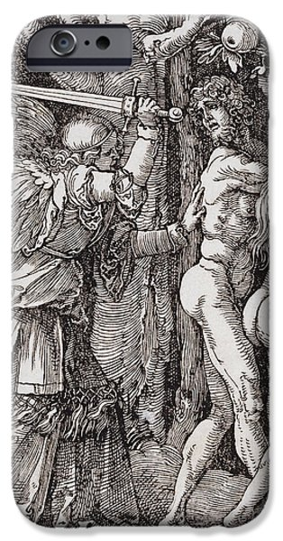 Serpent iPhone Cases - EXPULSION from PARADISE - ALBRECHT DURER - 1510 iPhone Case by Daniel Hagerman