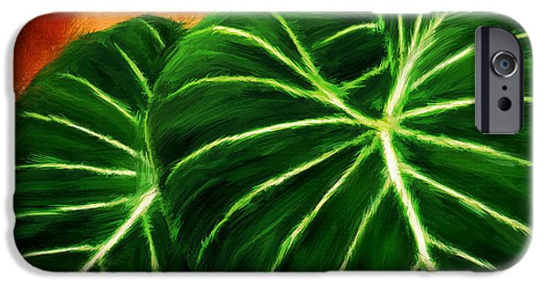 Philodendron iPhone Cases - Exquisite Collection- Philodendron Gloriosum iPhone Case by Lourry Legarde
