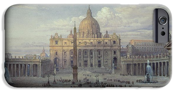Figures Paintings iPhone Cases - Exterior of St Peters in Rome from the Piazza iPhone Case by Louis Haghe