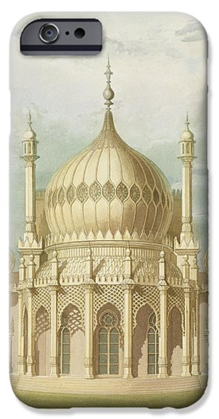 Oriental Paintings iPhone Cases - Exterior of the Saloon from Views of the Royal Pavilion iPhone Case by John Nash