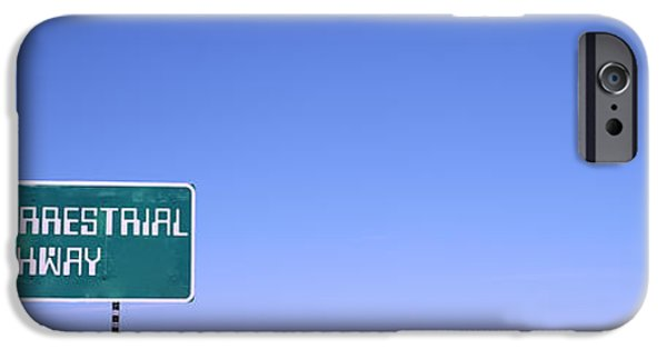 Sign iPhone Cases - Extraterrestrial Highway Sign, Area 51 iPhone Case by Panoramic Images