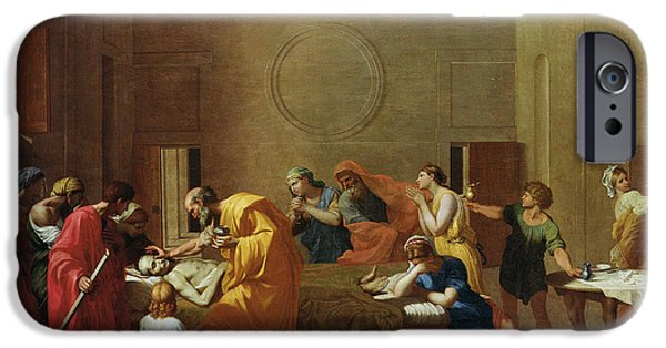 Sombre iPhone Cases - Extreme Unction, C.1637-40 Oil On Canvas iPhone Case by Nicolas Poussin