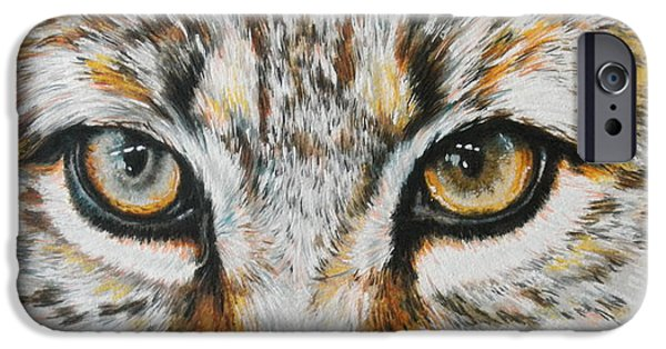 Bobcats Mixed Media iPhone Cases - Eye-catching Bobcat iPhone Case by Barbara Keith