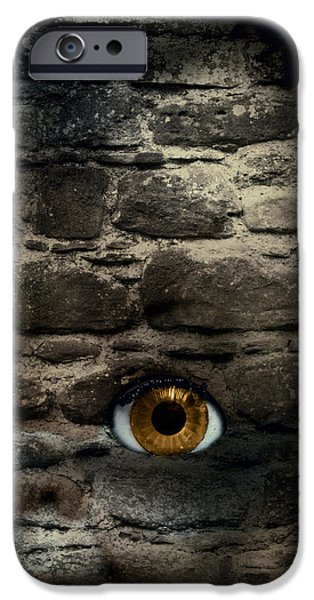 Macabre iPhone Cases - Eye In Brick Wall iPhone Case by Amanda And Christopher Elwell