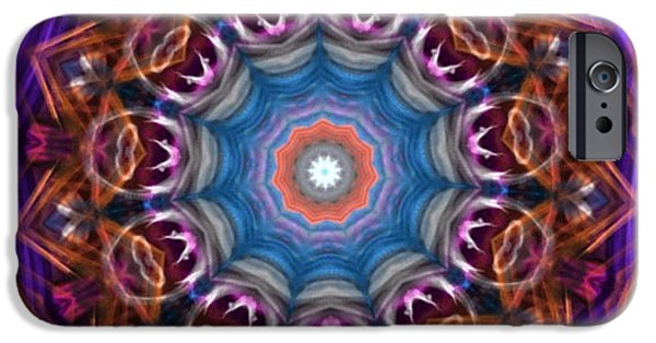 Tibetan Buddhism iPhone Cases - Eye of God Dusty Blue Red Rust Purple Halo iPhone Case by Dawn Boyer